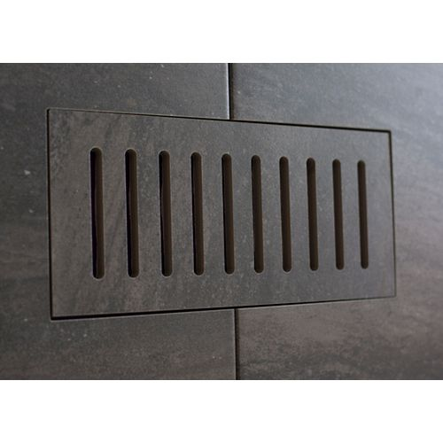 Porcelain vent cover made to match Fragment Graphite tile. Size - 4-inch x 11-inch