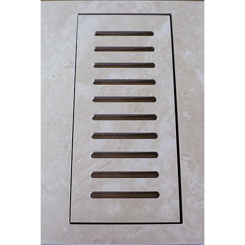Porcelain vent cover made to match Sydney Ivory tile. Size - 4-inch x 11-inch.