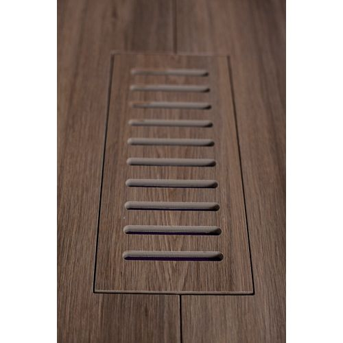 Porcelain vent cover made to match Corte Walnut Plank tile. Size - 4-inch x 11-inch