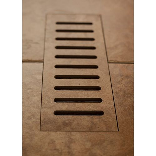 Porcelain vent cover made to match Lancaster Brown tile. Size - 4-inch x 11-inch
