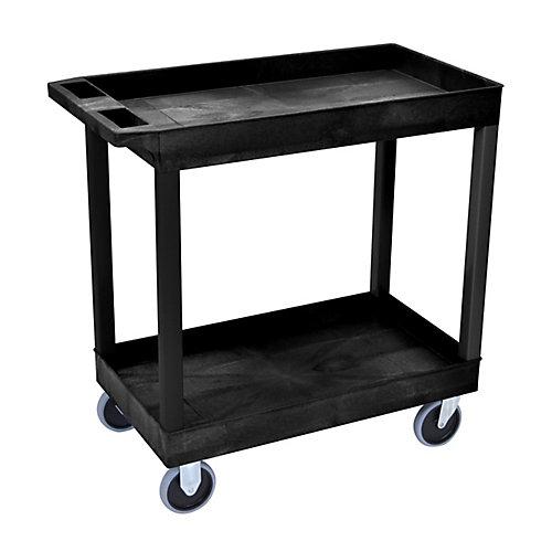 Chariot à Grande Capacité avec deux bassines et roulettes solides- Noir