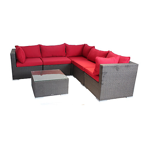 Napier Patio Sofa Set in Black Wicker with Red Cushions