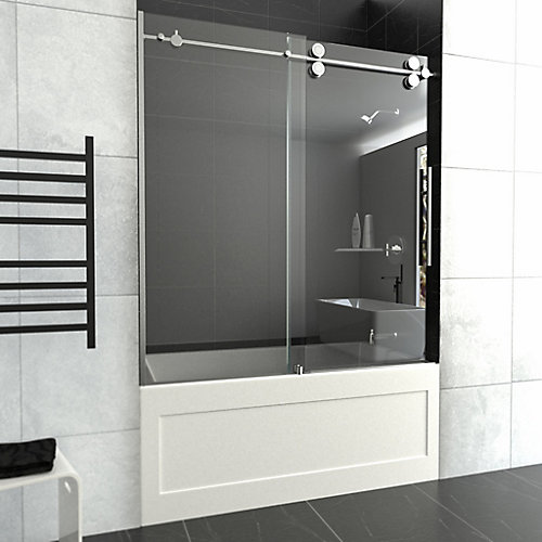 Tub Glass Door For 60 inch Bathtubs - 10mm Tempered Glass In Chrome