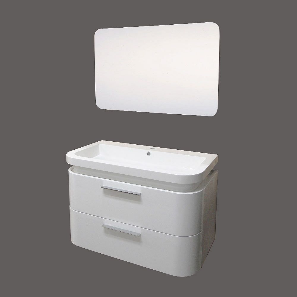 Valley 35.25-inch W 2-Drawer Wall Mounted Vanity in White ...