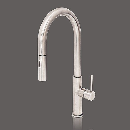 Pure Water Series - Single Side Lever Stainless Steel Kitchen Faucet - Brushed Stainless Steel Finish