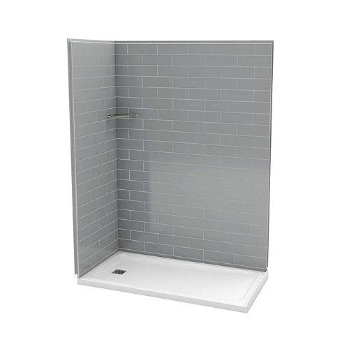 MAAX Utile 32-Inch x 60-Inch Corner Shower Stall in Metro Ash Grey