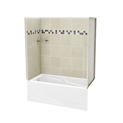 Utile Stone Sahara 60-inch x 81.25-inch x 30-inch 1-shelf 4-Piece Left Hand Drain Tub & Shower