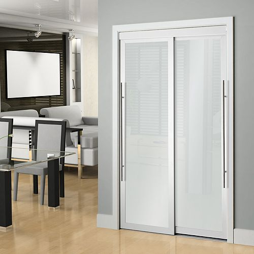 48-inch White Framed Frosted Sliding Door
