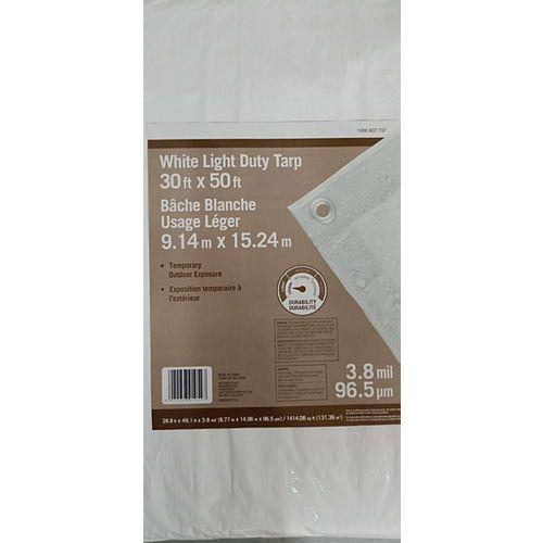 bache blanche usage leger 9.14x15.24m