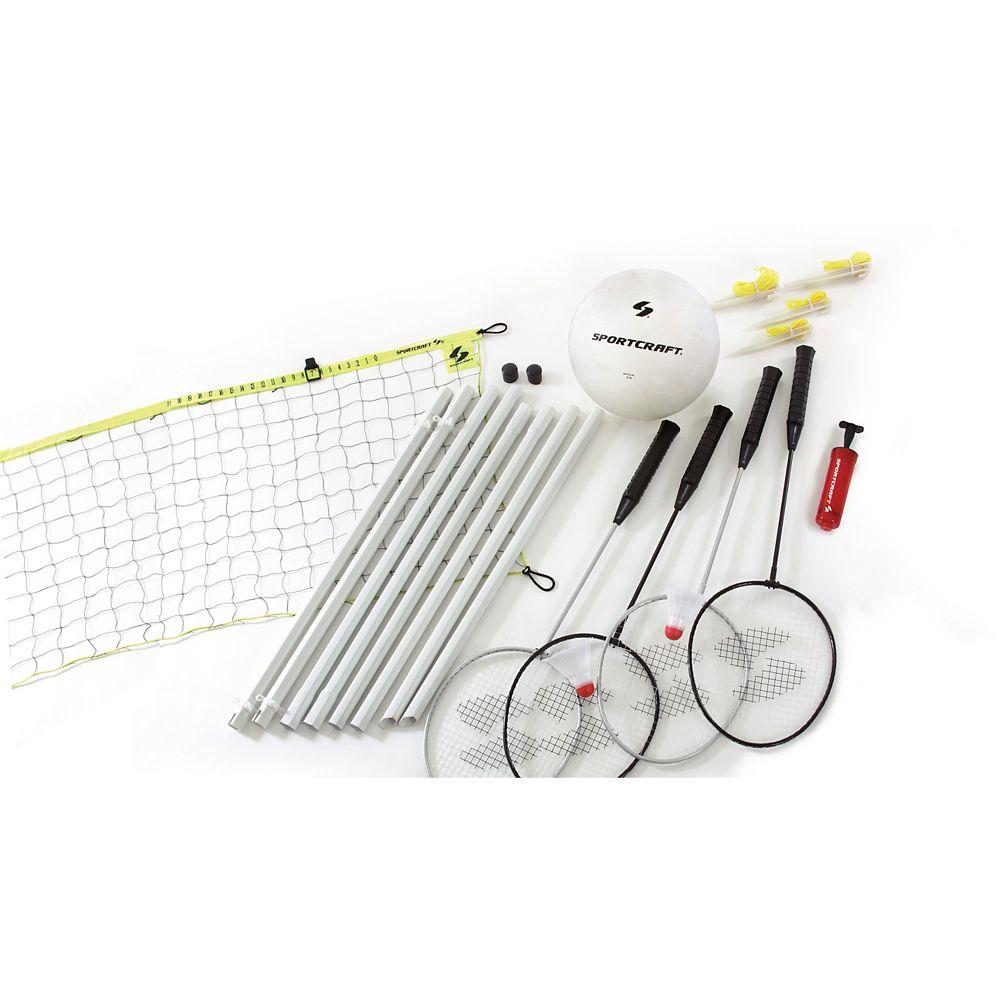 Sportcraft 4-Player Badminton / Volleyball Combo Set