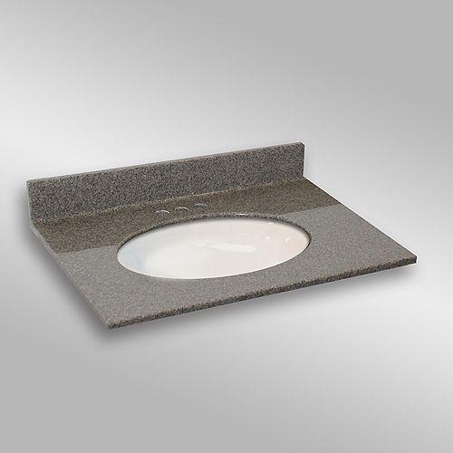 31-Inch W x 22-Inch D Granite Oval Centre Basin Vanity Top in Carioca Stone