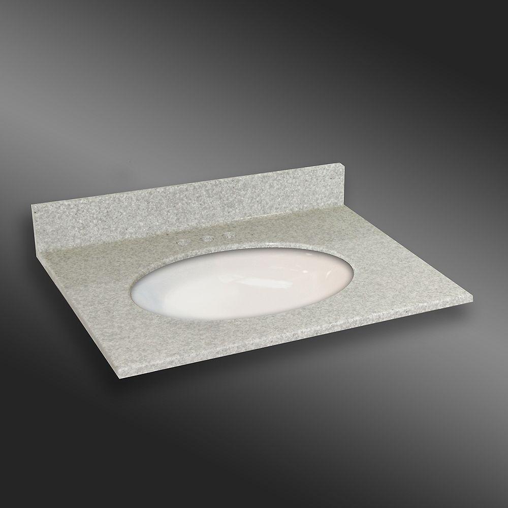 The Marble Factory Ovale lavabo porcelain monté centré, PG907- Brume de Willow- 31 x 22 pouces