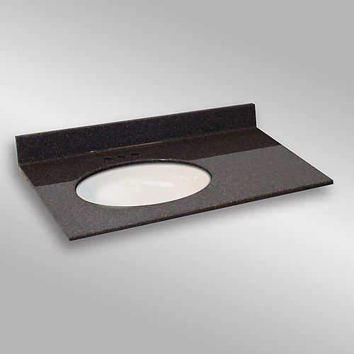 37-Inch W x 22-Inch D Granite Oval Left-Hand Basin Vanity Top in Espresso