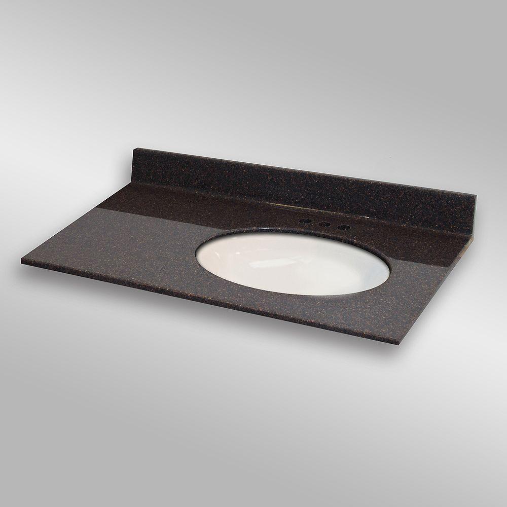 The Marble Factory Ovale lavabo porcelain monté a la main droite, PG133- Espresso- 37 x 22 pouces