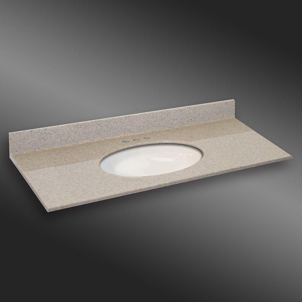 The Marble Factory Ovale lavabo porcelain monté centré, PG141- Crème Irlandaise- 49 x 22 pouces
