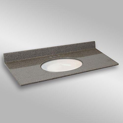 49-Inch W x 22-Inch D Granite Oval Centre Basin Vanity Top in Carioca Stone