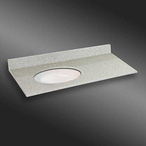 49-Inch W x 22-Inch D Granite Oval Left-Hand Basin Vanity Top in Willow Mist