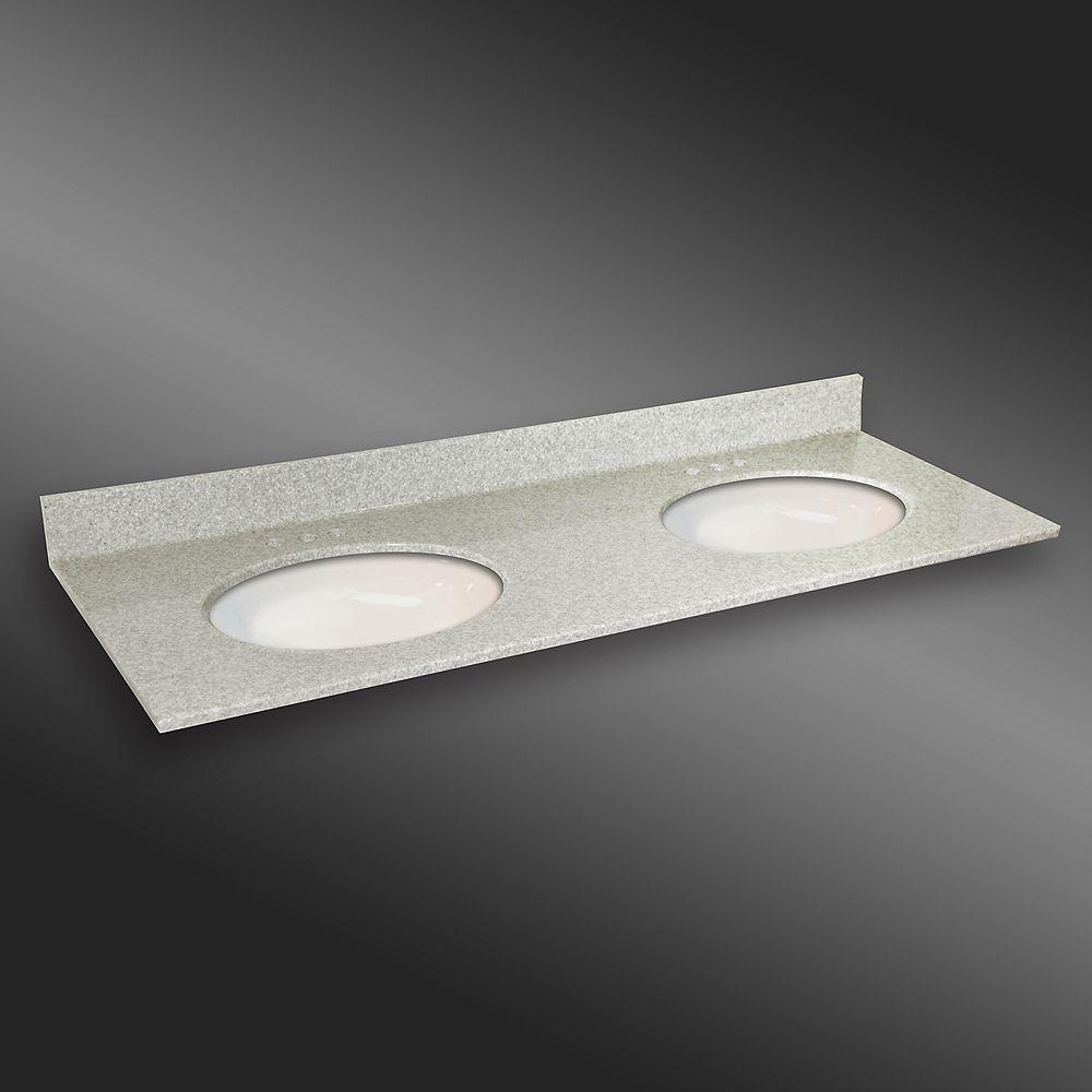 The Marble Factory Ovale lavabo porcelain monté double, PG907- Brume de Willow- 61 x 22 pouces