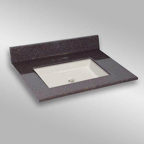 31-Inch W x 22-Inch D Granite Square Centre Basin Vanity Top in Espresso