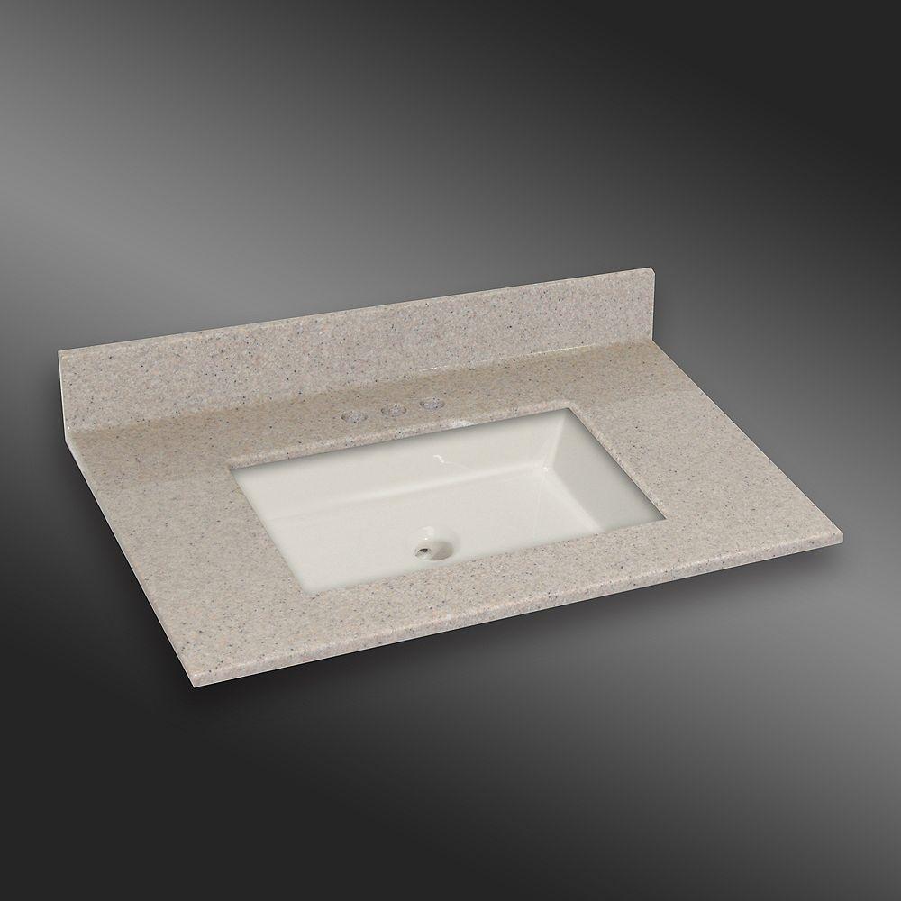 The Marble Factory Carré lavabo porcelain monté centré, PG141- Crème Irlandaise- 37 x 22 pouces