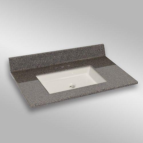 37-Inch W x 22-Inch D Granite Square Centre Basin Vanity Top in Carioca Stone