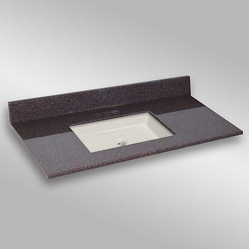 49-Inch W x 22-Inch D Granite Square Centre Basin Vanity Top in Espresso