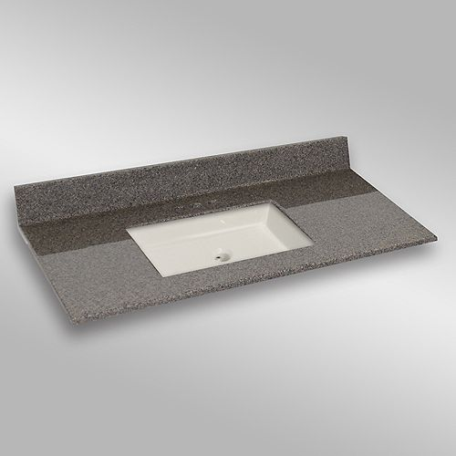49-Inch W x 22-Inch D Granite Square Centre Basin Vanity Top in Carioca Stone