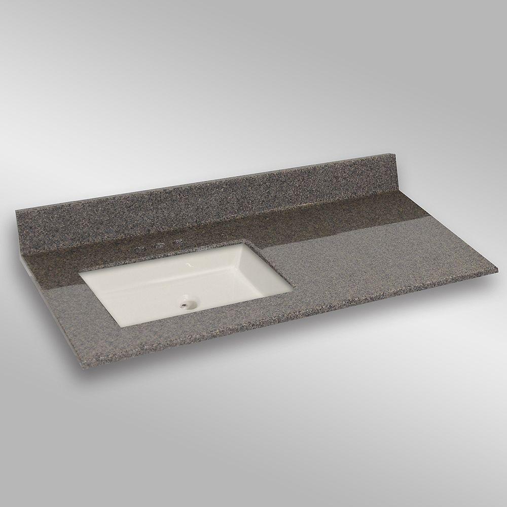 The Marble Factory 49-Inch W x 22-Inch D Granite Square Left-Hand Basin Vanity Top in Irish Cream
