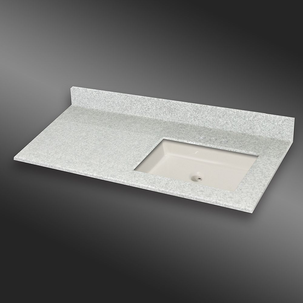 The Marble Factory 49-Inch W x 22-Inch D Granite Square Right-Hand Basin Vanity Top in Willow Mist