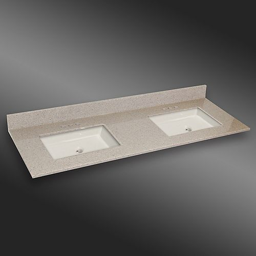 61-Inch W x 22-Inch D Granite Square Double Basin Vanity Top in Irish Cream