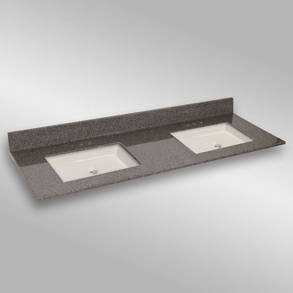 The Marble Factory 61-Inch W x 22-Inch D Granite Square Double Basin Vanity Top in Carioca Stone