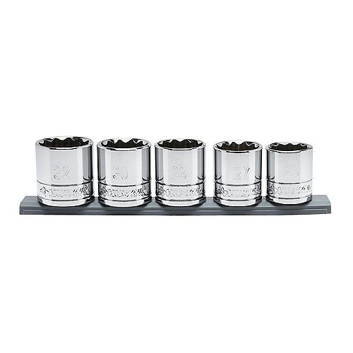 Husky 1/2-inch Drive Metric X-Large Socket Set (5-Piece)