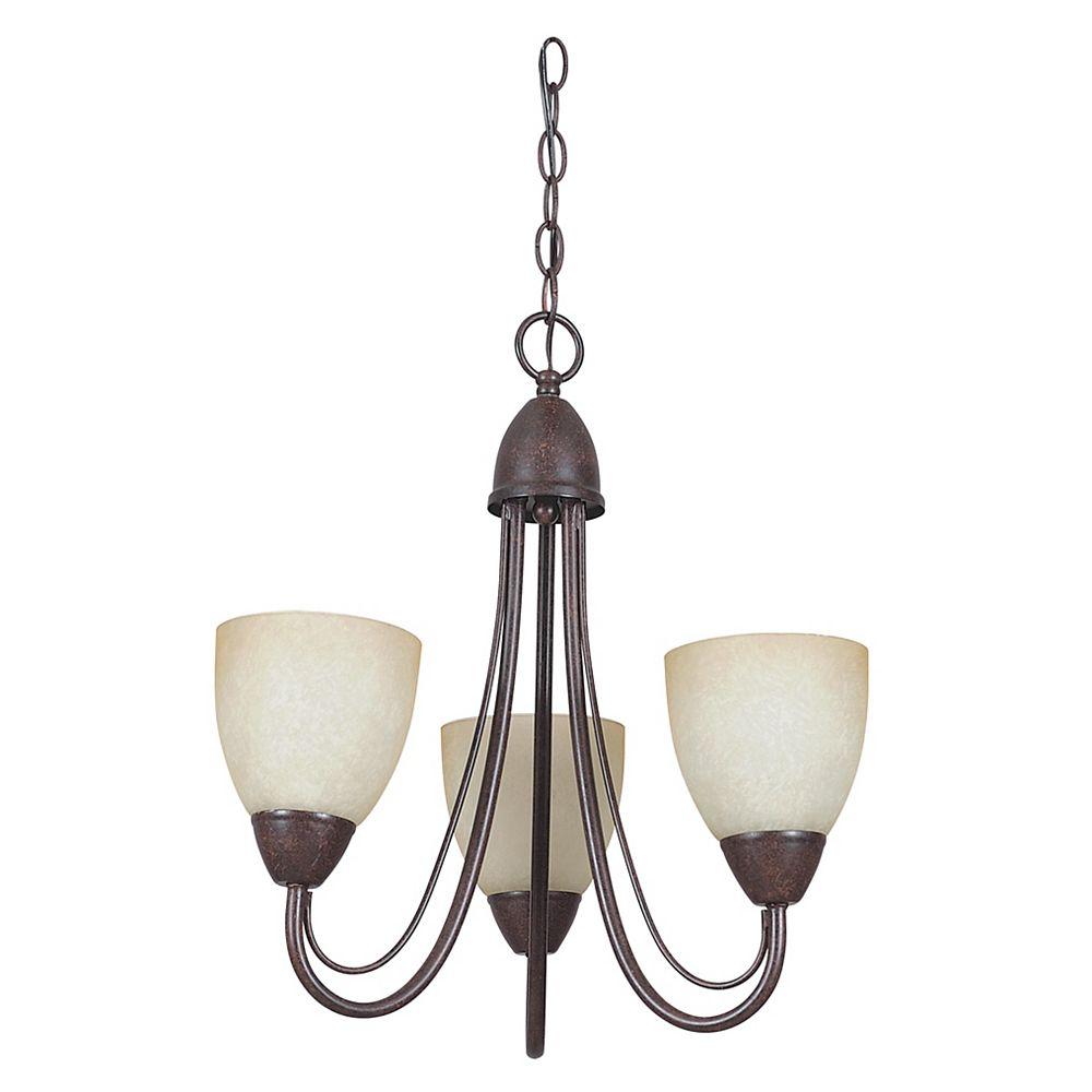 Filament Design Lustre Atropolis à trois ampoules avec abat-jour de spécialité, Fini bronze