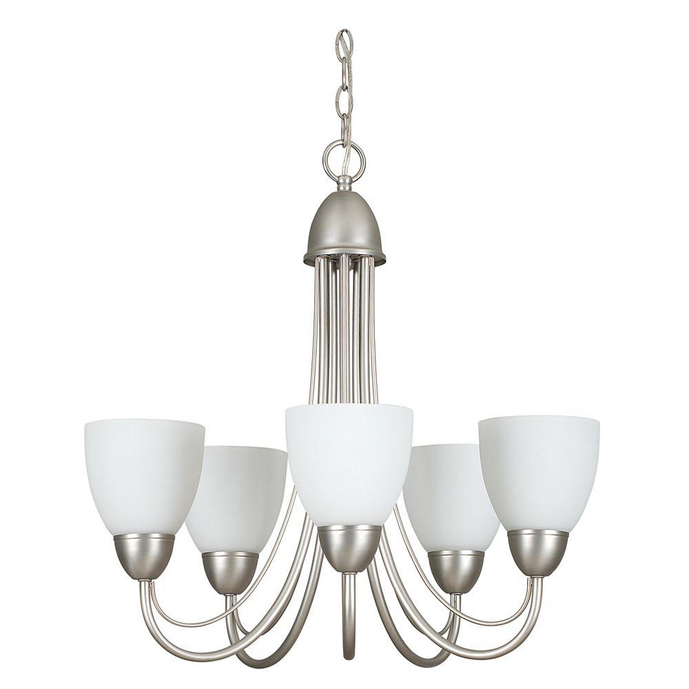 Filament Design Lustre Atropolis à cinq ampoules avec abat-jour de spécialité, finition de spécialité