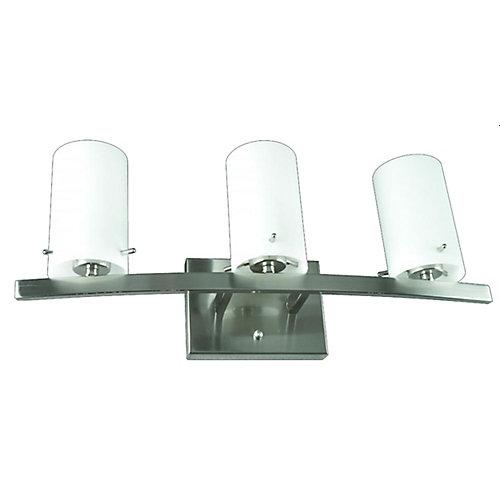 Lumière Atropolis fixée au mur à trois ampoules avec abat-jour blanc, finition de spécialité