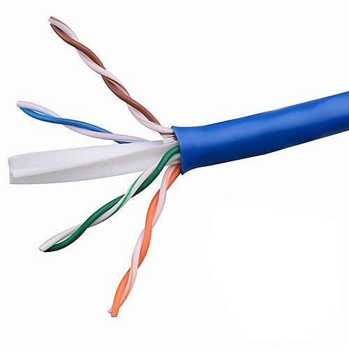Câble paire torsadée non blindé bleu 24-4 de catégorie 5 de 1000 pieds avec calibre FT4