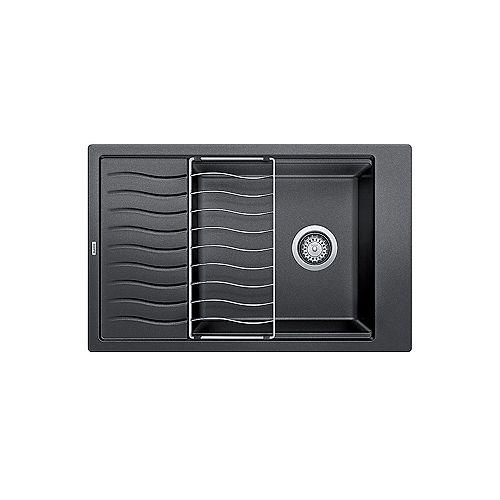 Blanco PRECIS W/ DRAINBOARD, Single Bowl Undermount or Drop-in (Dual-mount) Sink, SILGRANIT Anthracite