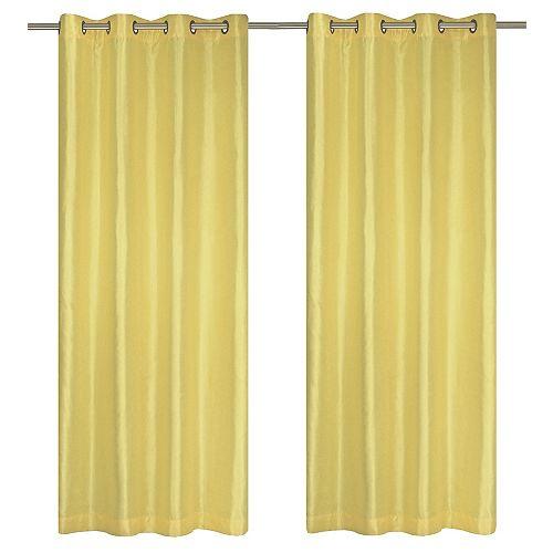 Silkana ensemble de 2 rideaux à illets en fausse soie, 56 x 88 po, jaune