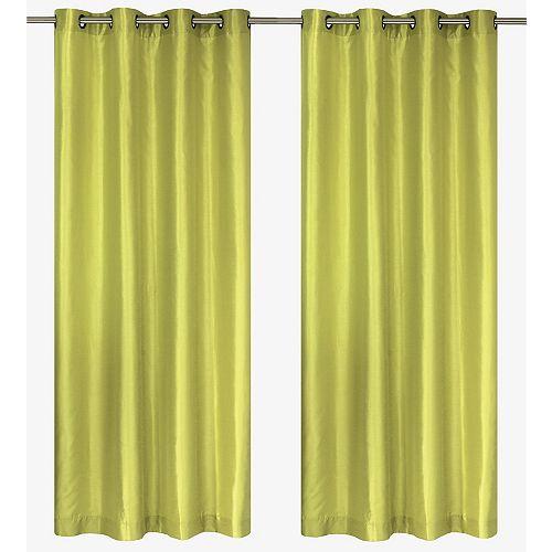 """Silkana paire de panneaux à illets en fausse soie 56x88"""" Vert pistache"""