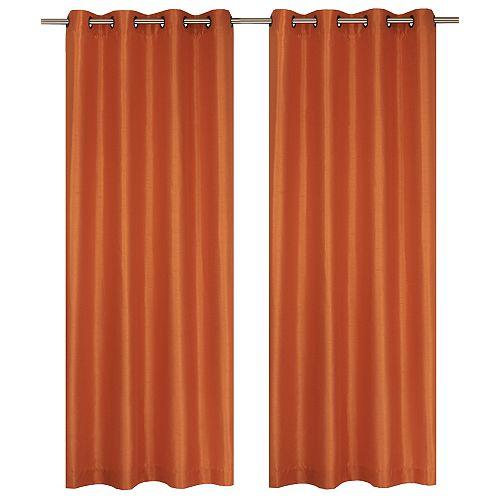Silkana ensemble de 2 rideaux à illets en fausse soie, 56 x 88 po, orange