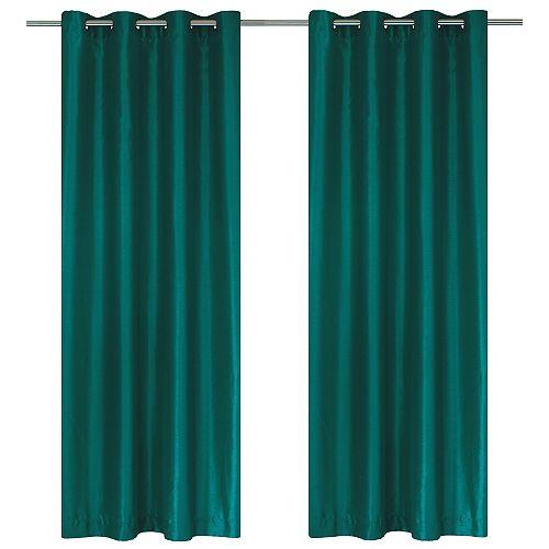 Silkana ensemble de 2 rideaux à illets en fausse soie, 56 x 88 po, sarcelle vert