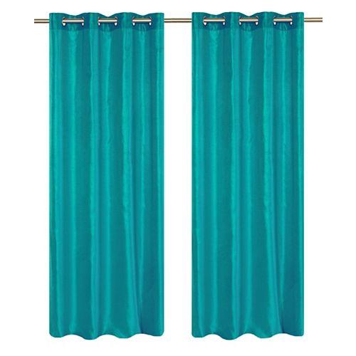 Silkana ensemble de 2 rideaux à illets en fausse soie, 56 x 88 po, turquoise