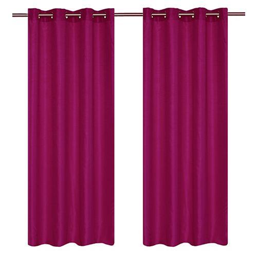 Silkana ensemble de 2 rideaux à illets en fausse soie, 56 x 88 po, rose fonce
