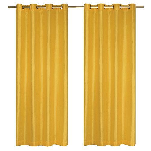 Silkana ensemble de 2 rideaux à illets en fausse soie, 56 x 88 po, jaune d'ananas
