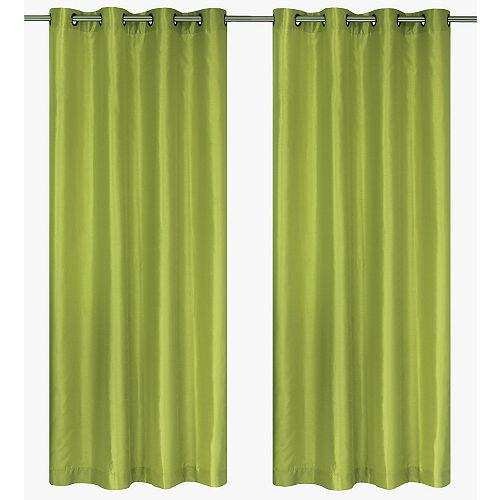 """Silkana paire de panneaux à illets en fausse soie 56x88"""" Vert chartreuse"""