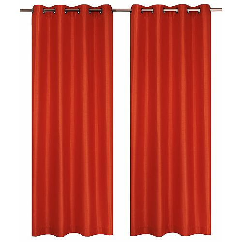 Silkana ensemble de 2 rideaux à illets en fausse soie, 56 x 88 po, orange fonce