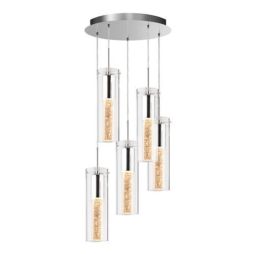 Essence Collection – Luminaire à 5 pendants aux accents de chrome et bulles de champagne