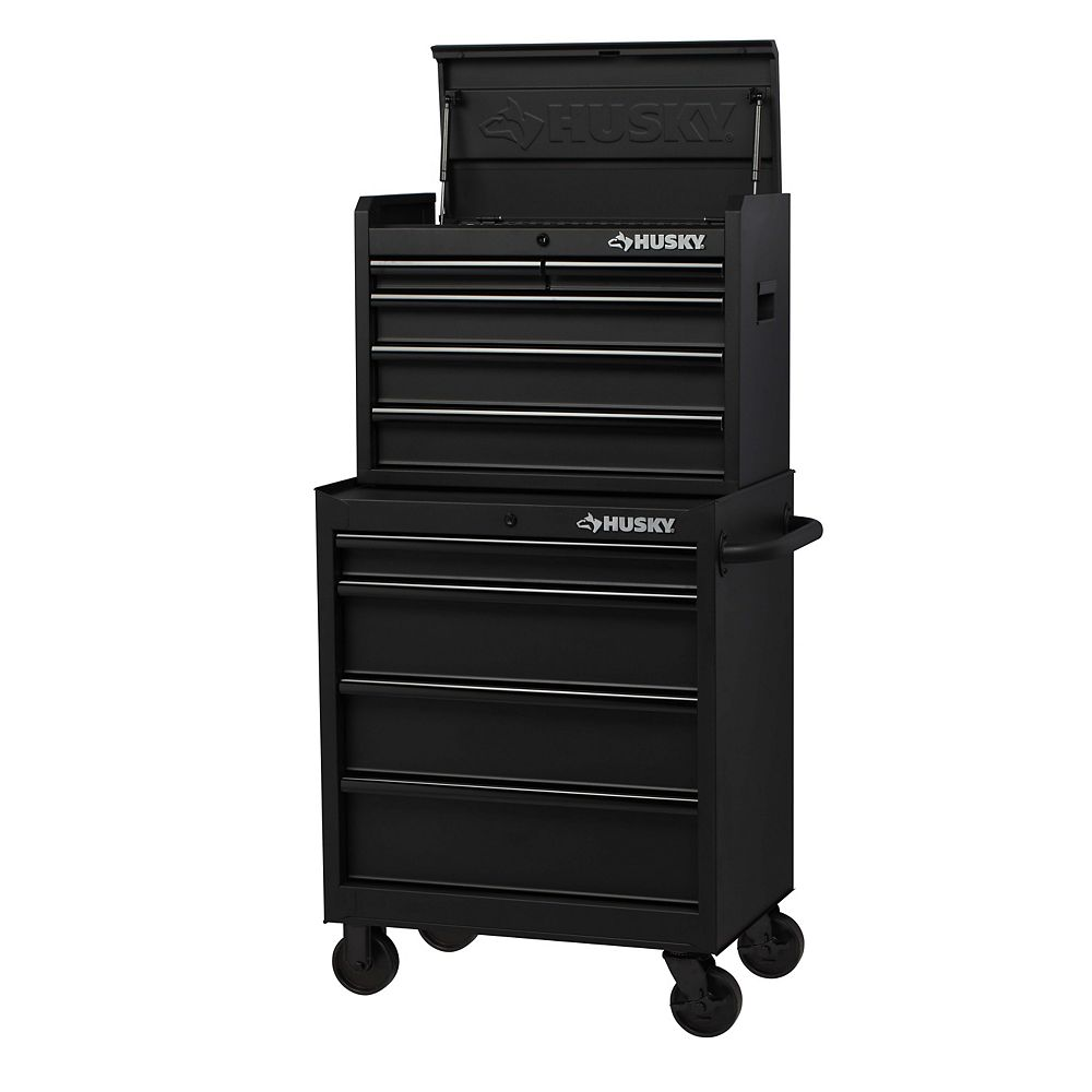 Husky H27CH5TR4BO 27-inch 9-Drawer Mobile Tool Storage Chest and Cabinet Combo in Black