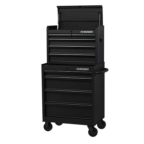 27-inch 9-Drawer Mobile Tool Storage Chest and Cabinet Combo in Black