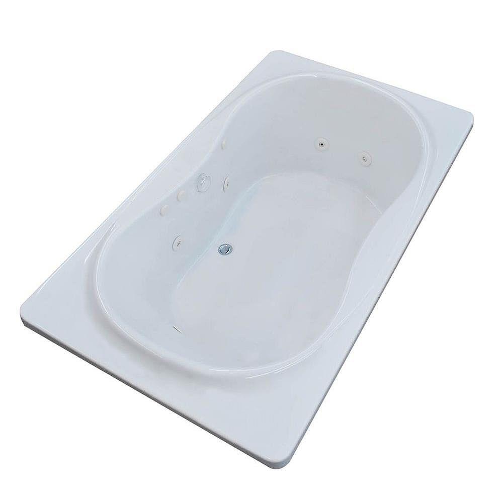 Universal Tubs Star 6 ft. Acrylic Drop-in Right Drain Rectangular Whirlpool Bathtub in White